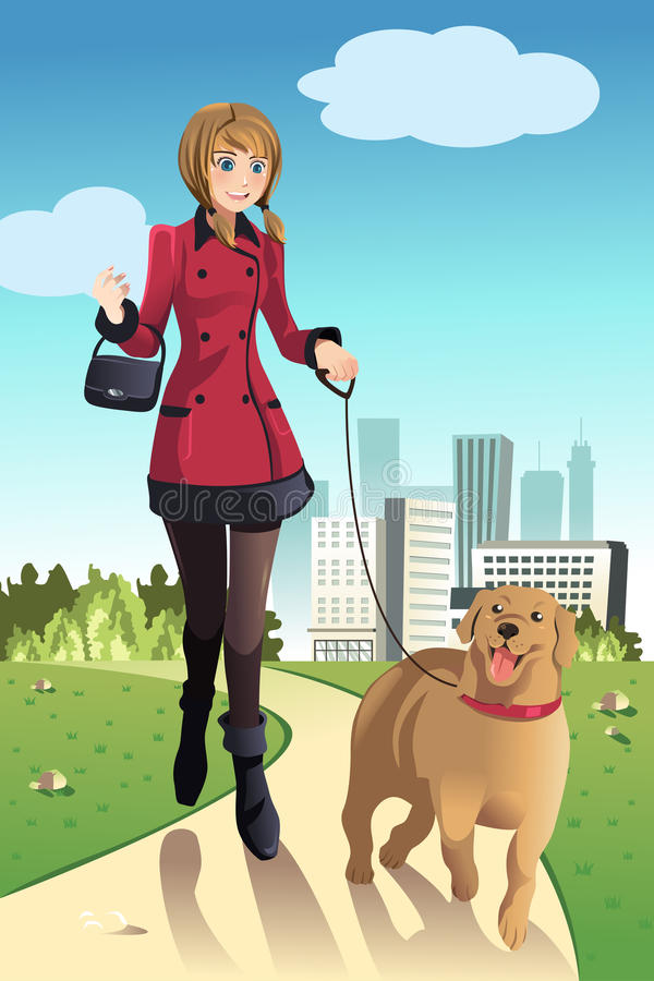 Woman walking dog vector illustration