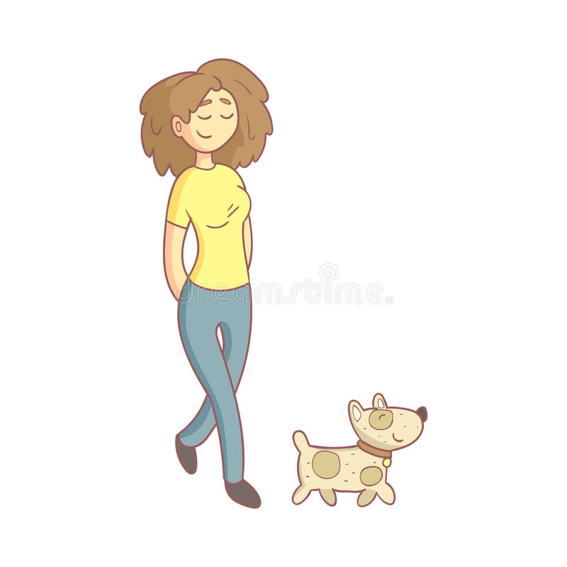 Woman Walking The Dog vector illustration
