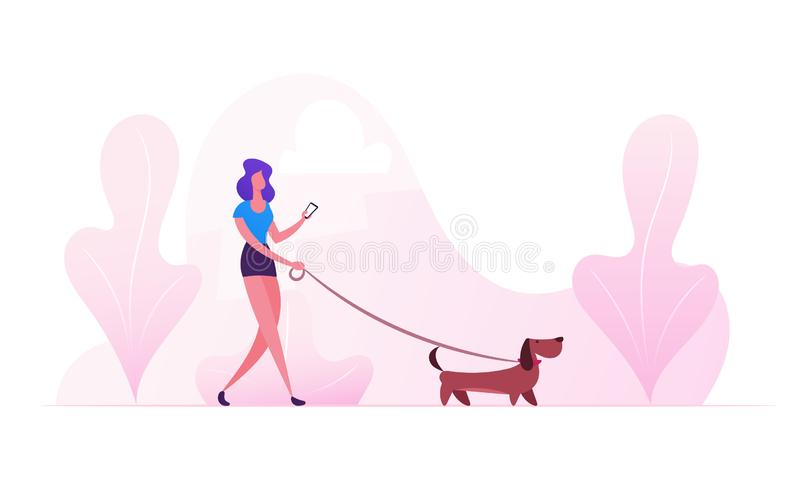 Woman Walking with Dog Outdoors at Summertime. Female Character Spending Time with Dachshund Pet in Park Relaxing, Leisure. With Puppy, Communicating with stock illustration