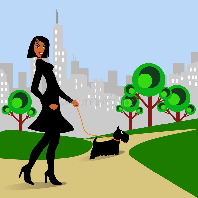 Woman walking Dog in Park royalty free illustration
