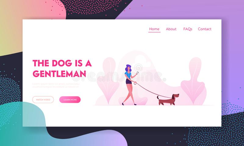 Woman Walking with Dog Website Landing Page. Character Spending Time with Dachshund Pet in Park Relaxing. Leisure with Puppy. Communicating with Animal Web Page stock illustration