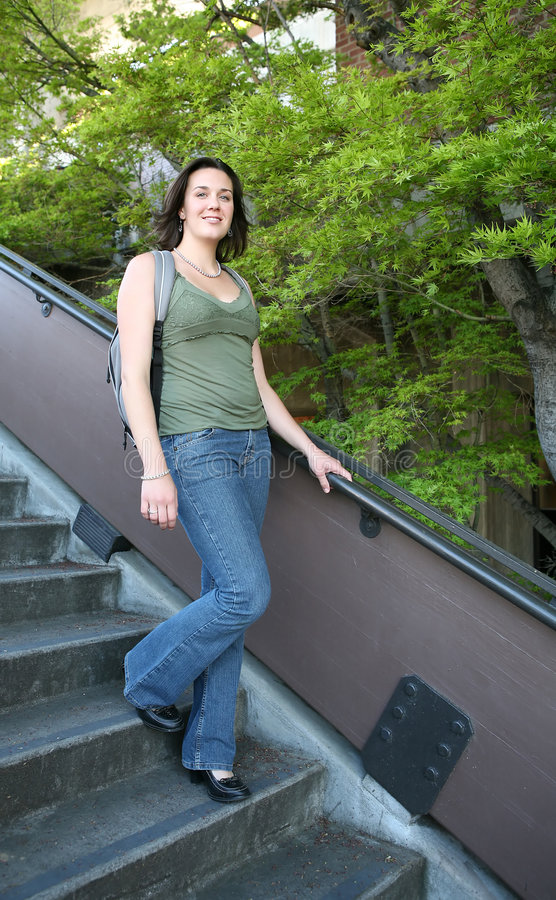 Download Woman walking down stairs stock image. Image of single - 2258871