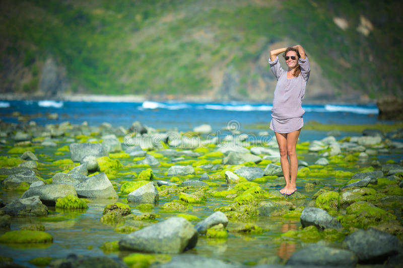Woman Walking on the Green Reef royalty free stock images