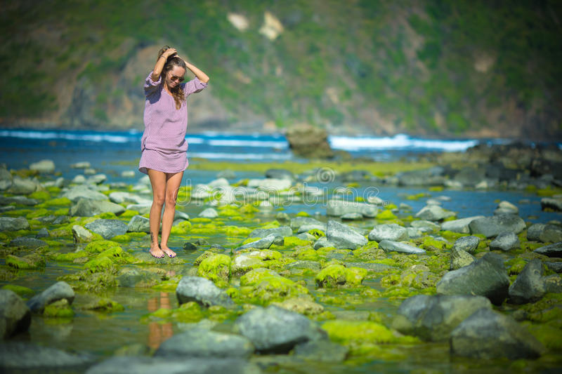 Woman Walking on the Green Reef stock photography