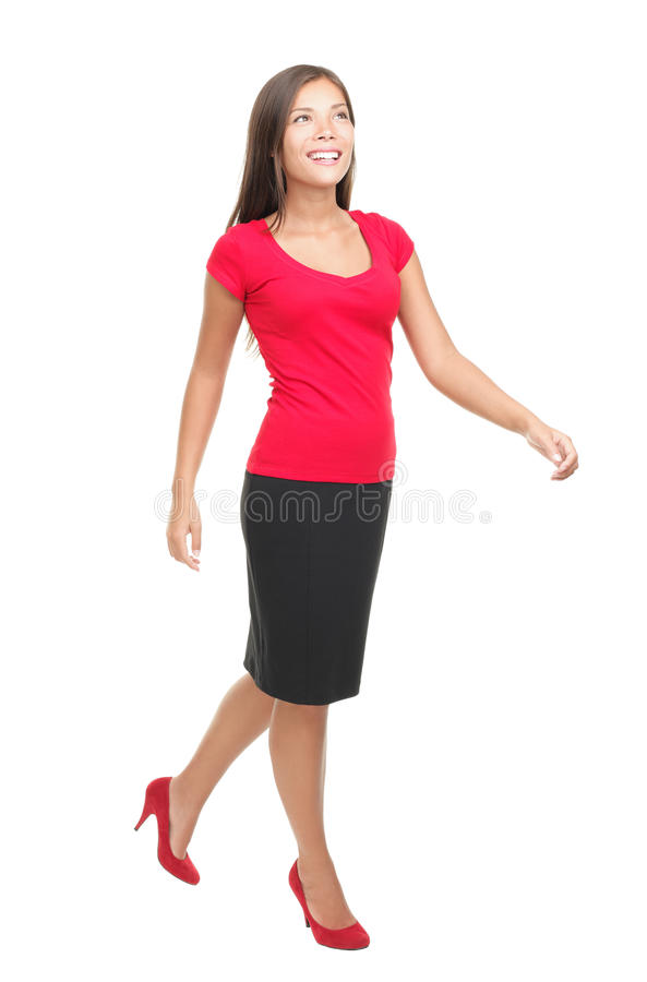 Woman walking isolated royalty free stock photos
