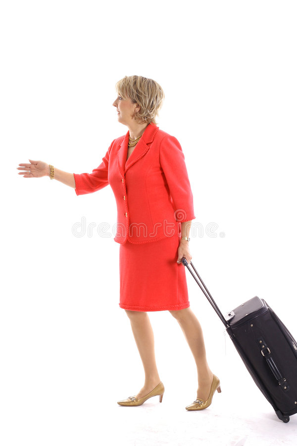 Woman Walking With Luggage Royalty Free Stock Photos