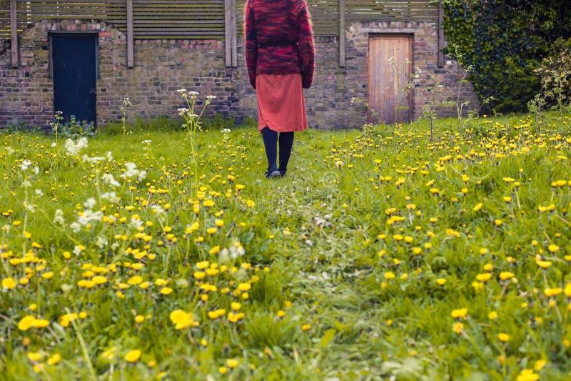 Woman walking in meadow towards rustic doors royalty free stock image