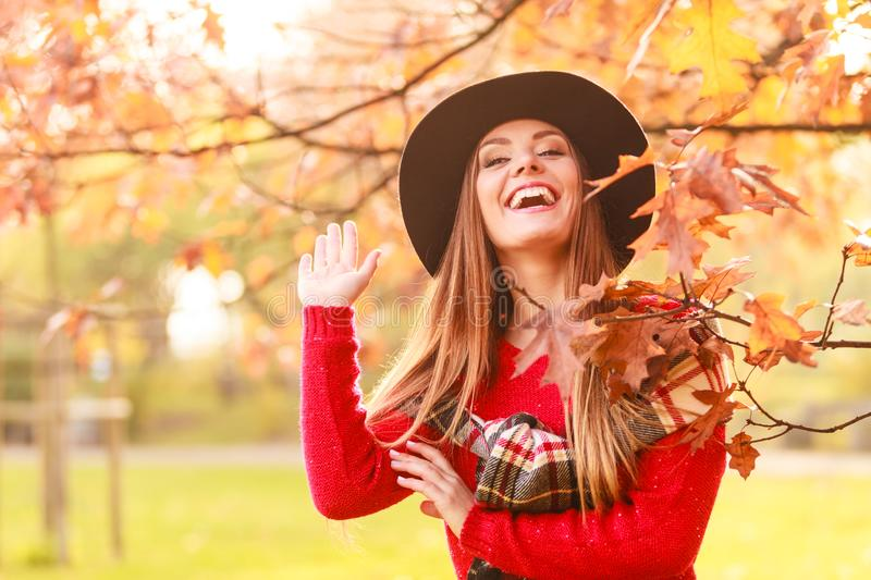 Woman walking in park during autumn stock photos