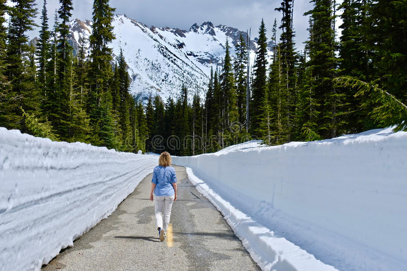 Woman walking on the road with snow walls. North Cascades National Park. Bellingham. Seattle. Cascade mountains. Washington. The United States royalty free stock photos