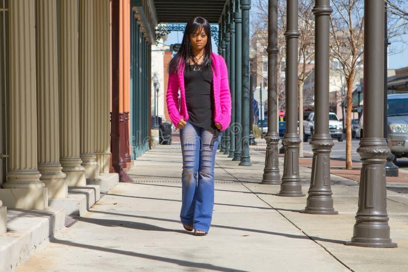 Download Woman Walking On Sidewalk stock photo. Image of traffic - 13629266