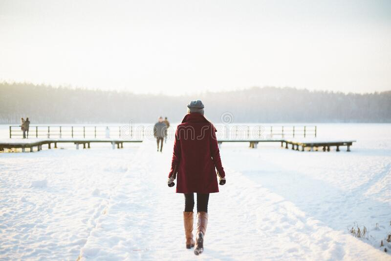 Woman Walking In Snowy Landscape Free Public Domain Cc0 Image