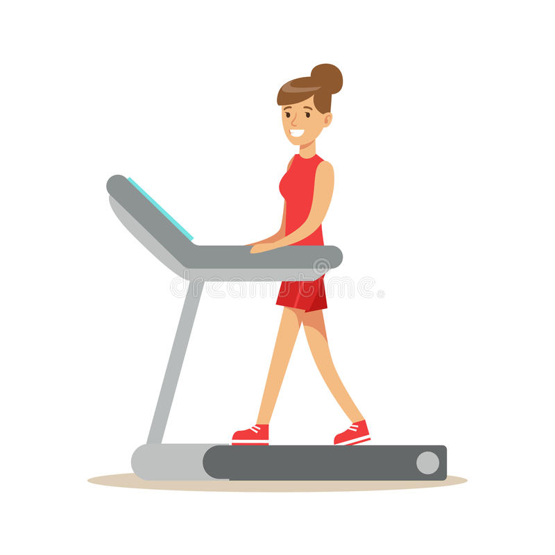 Woman Walking On Treadmill , Member Of The Fitness Club Working Out And Exercising In Trendy Sportswear. Healthy Lifestyle And Fitness Set Of Illustrations stock illustration
