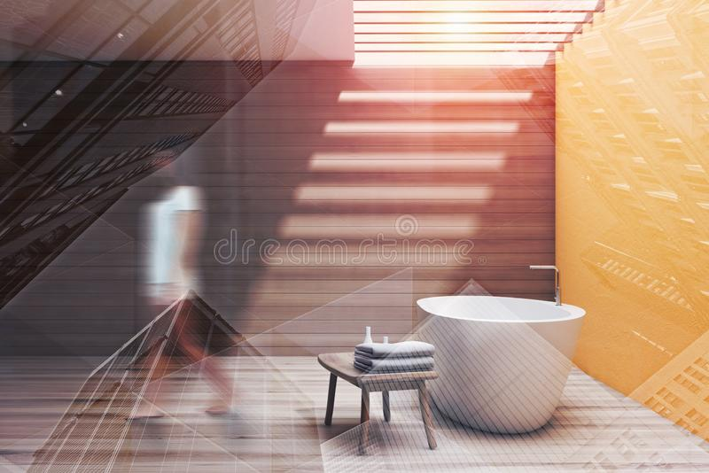 Woman walking in yellow and wooden bathroom stock images