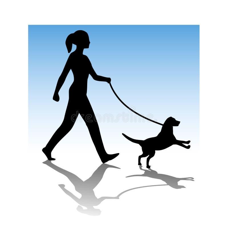 Woman Walking Young Dog stock illustration