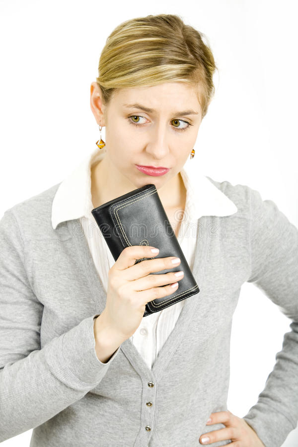 Woman with a wallet stock photos