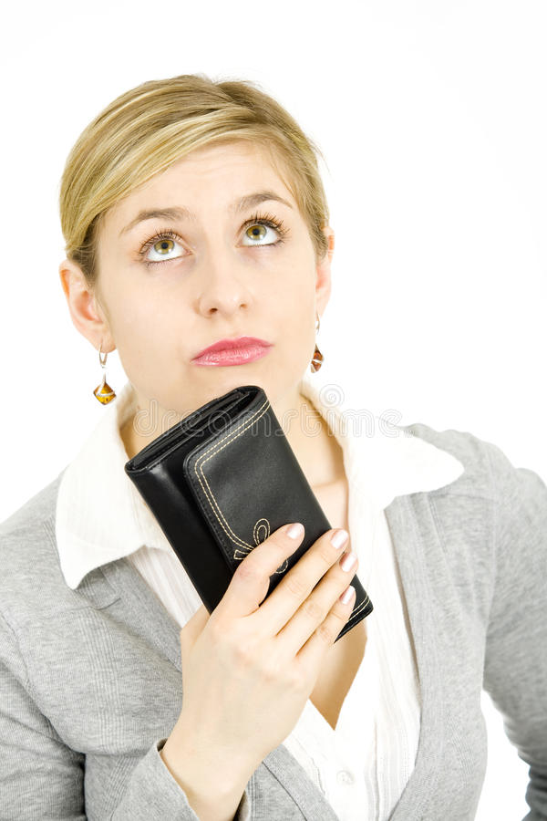 Woman with a wallet royalty free stock image