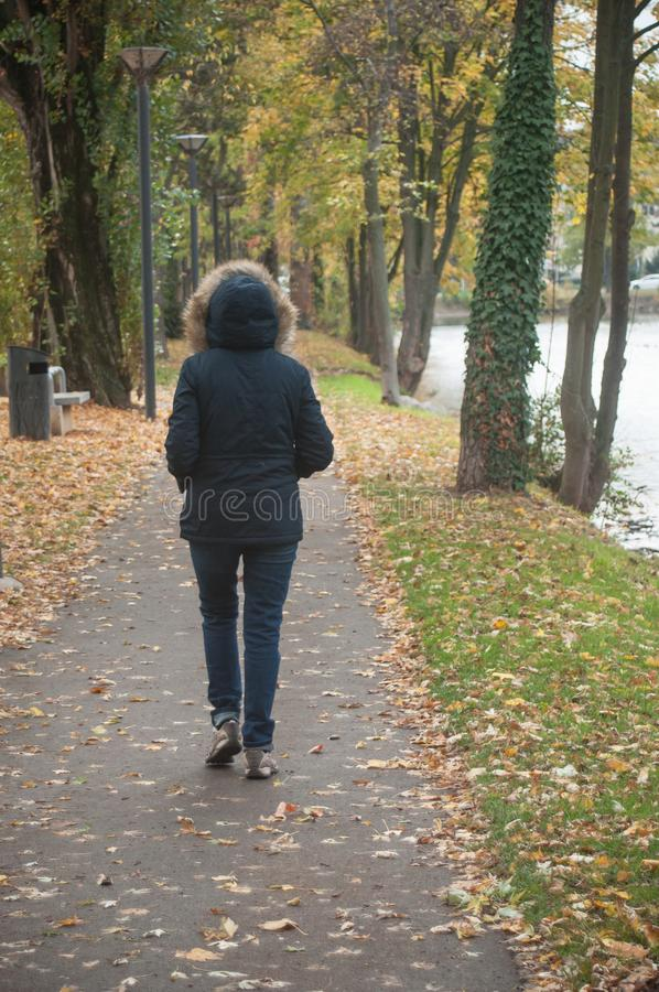 Woman walling in border river. By autumn stock image