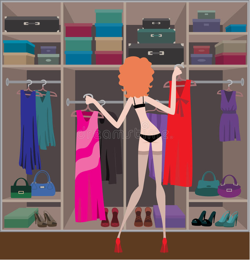 Woman in a wardrobe room royalty free illustration