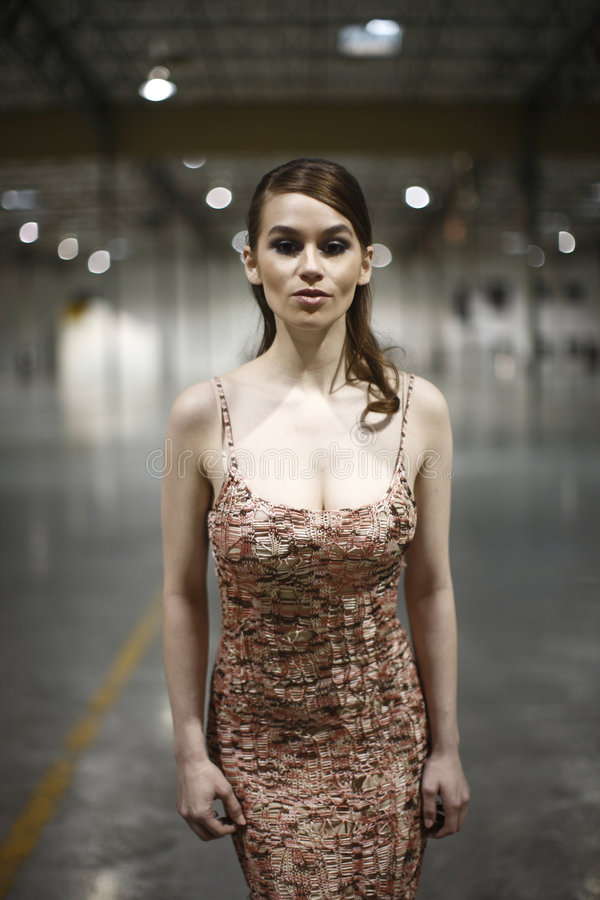 Woman in warehouse stock photo