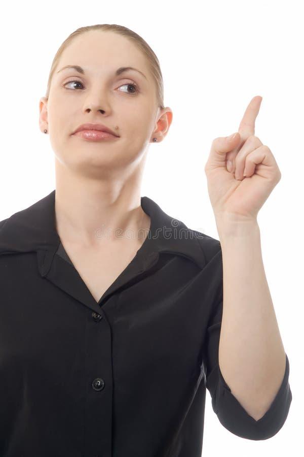 Woman Warning stock photo