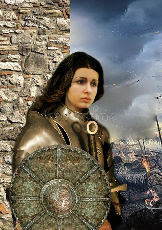 Woman warrior knight Jeanne d`Arc in armor against the background of the battlefield vector illustration