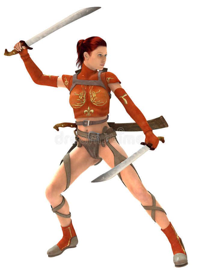 Woman warrior with swords royalty free illustration