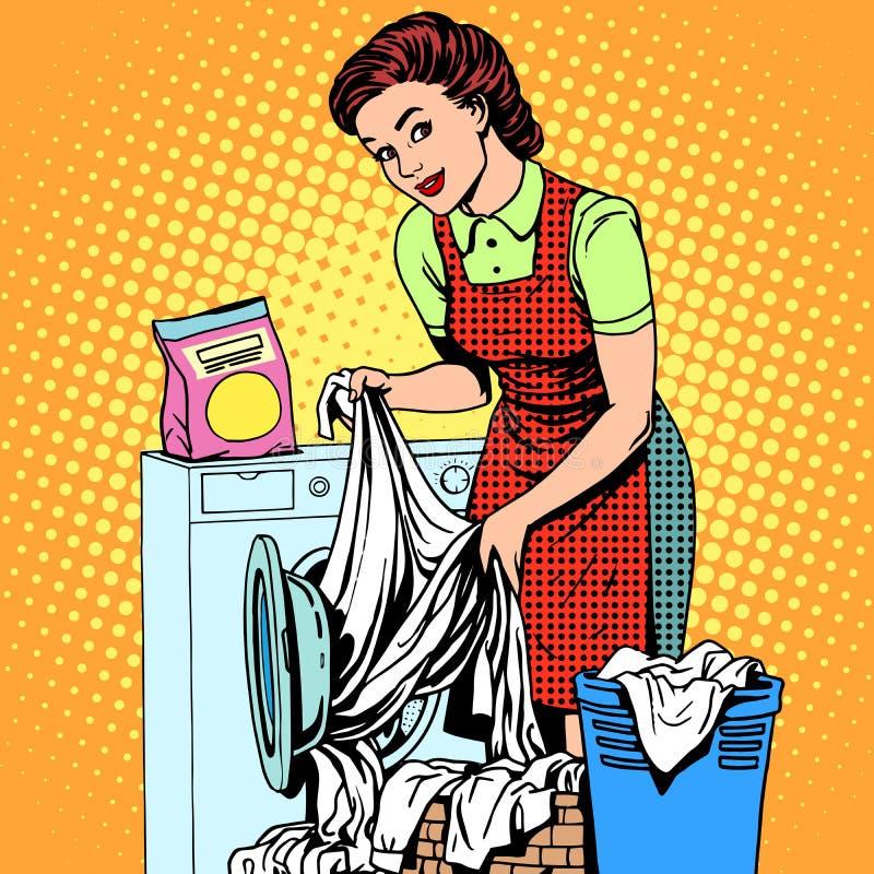 Woman washes clothes washing machine stock illustration