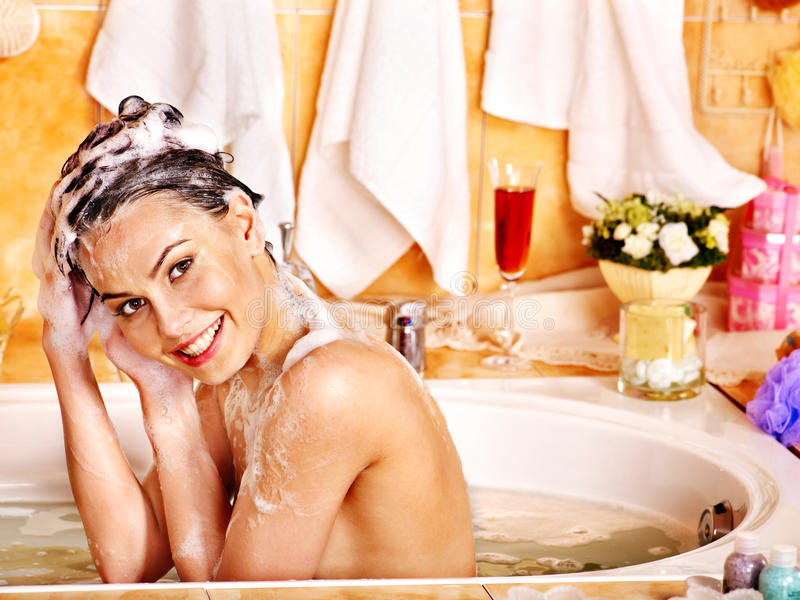 Download Woman Washes Her Head At Bathroom. Stock Photo - Image: 28880610