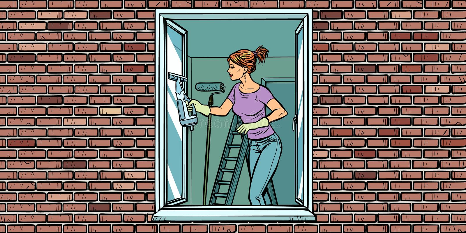 Woman washes a window, home cleaning vector illustration