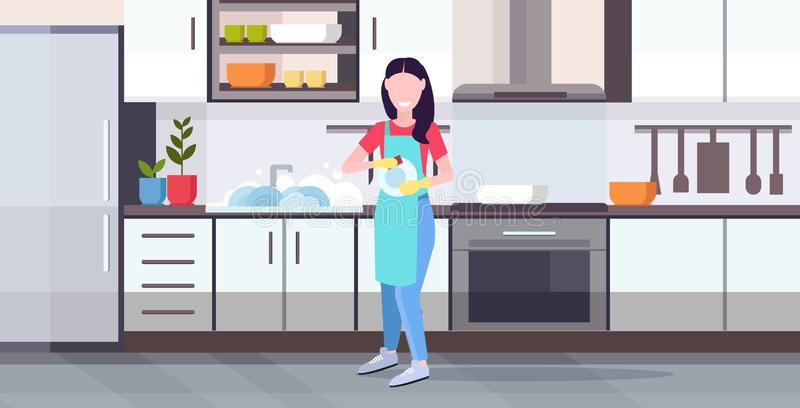 Woman washing dishes housewife wiping plates with towel dishwashing concept girl in apron doing housework modern kitchen vector illustration