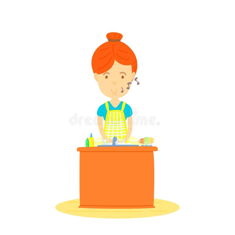 Woman washing dishes. Mother washing dishes, The front of , housewife washing dishes, cute cartooning style, flat vector, colorful illustration stock illustration