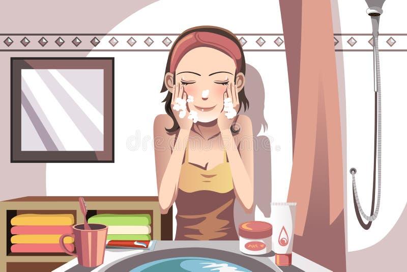 Woman washing face vector illustration