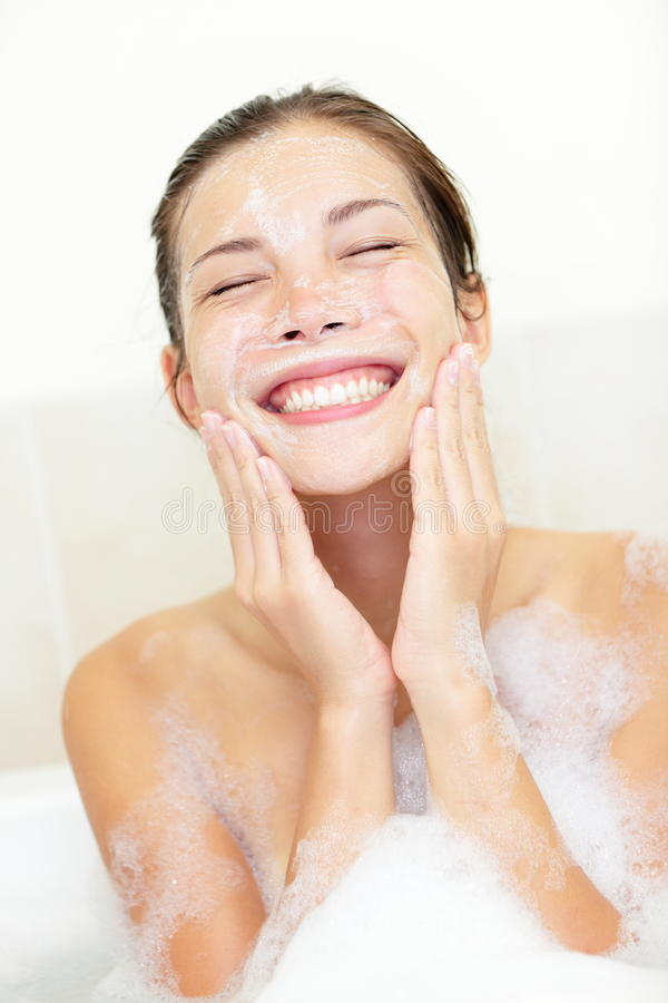 Download Woman washing face in bath stock image. Image of happy - 21941655