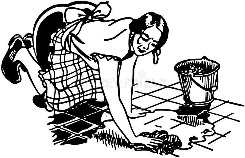 Woman Washing Floor stock illustration