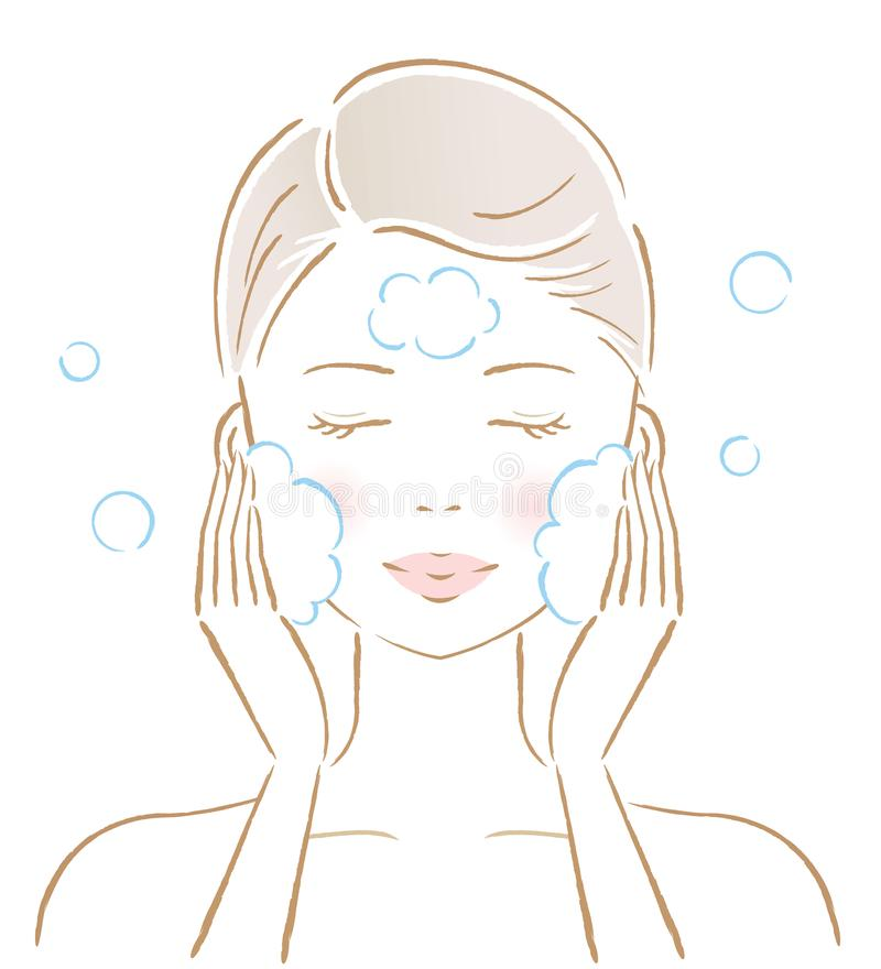 Woman washing her face with rich foam. skin care and beauty concept. Woman cleansing her face with rich foam. massaging her cheek with her hands isolated on the royalty free illustration