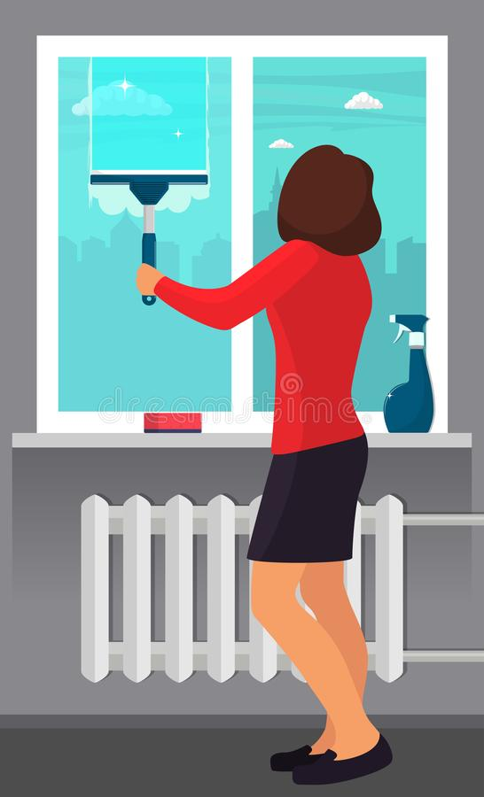Woman washing the window with a scraper. Window cleaning. Scraper glides over the glass, making it clean. Spray glass cleaner and royalty free illustration