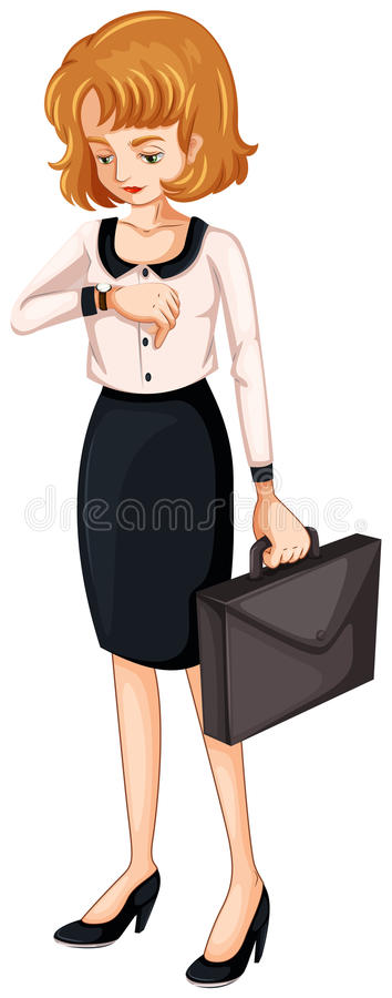 Download A Woman Watching Her Watch While Holding An Attache Case Royalty Free Stock Image - Image: 34313326