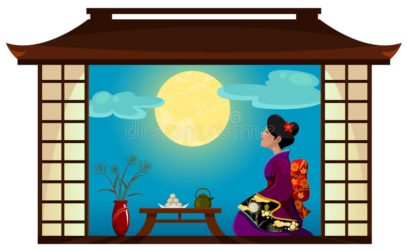woman watching the moon stock illustration