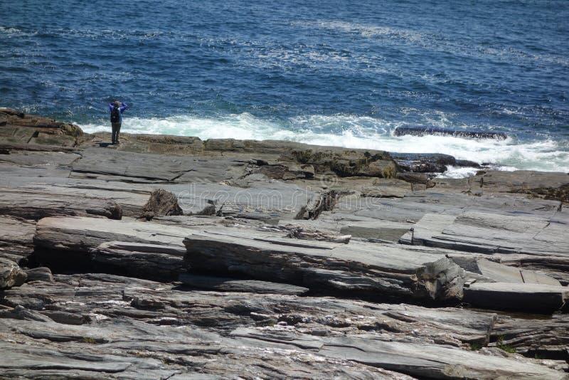 Woman watching ocean at rocky sea coast royalty free stock image