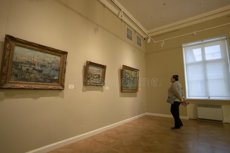 A woman is watching the paintings royalty free stock photo