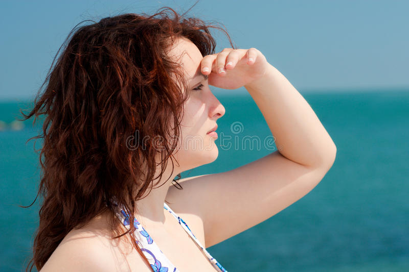 Download Woman Watching The Sea Royalty Free Stock Photography - Image: 19599327