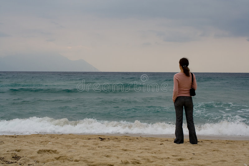 Download Woman watching sea stock photo. Image of person, female - 7888078