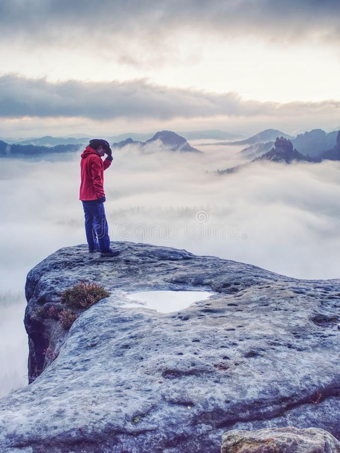 Woman watching sunrise over Himalayas, misty mountains. National Park, women, travel, young, adult, winning, people, viewpoint, tourist, success, solu, khumbu royalty free stock images