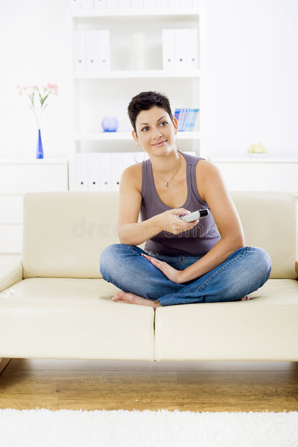 Woman Watching TV Royalty Free Stock Photography