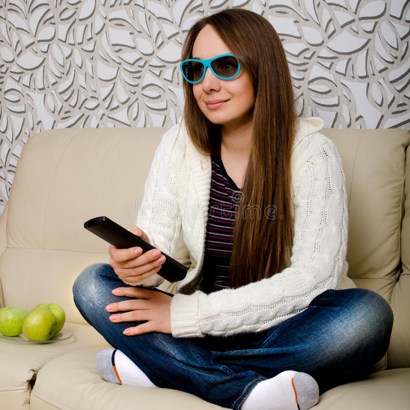 Download Woman watching tv stock photo. Image of relaxation, film - 35968718