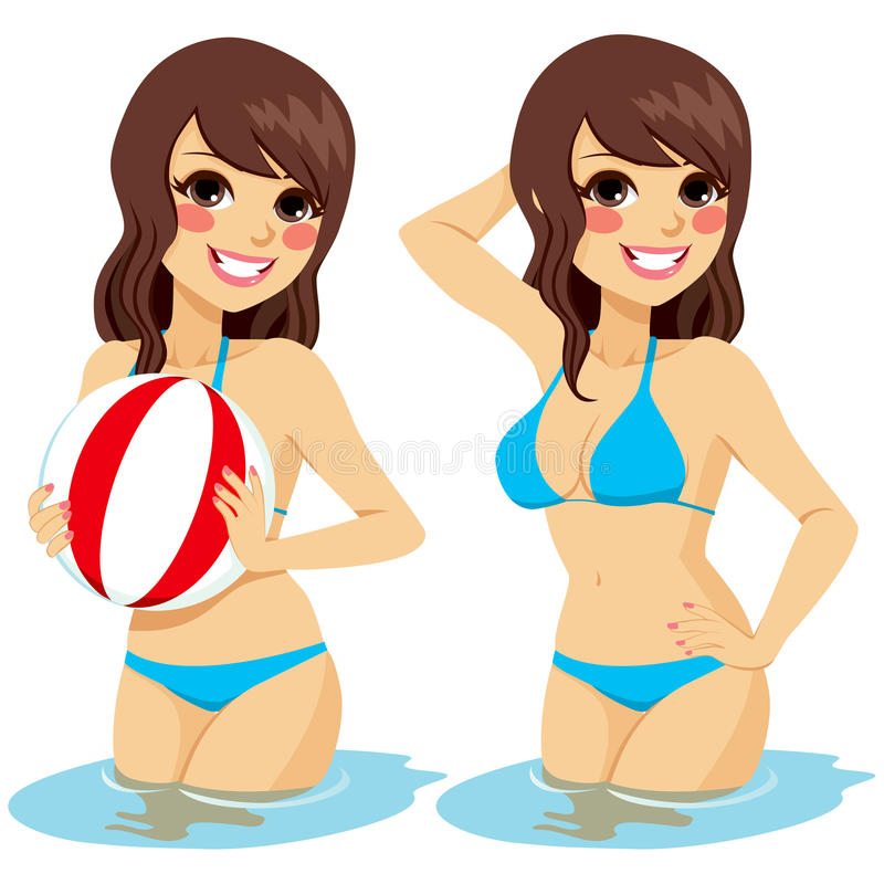 Woman Water Beach Ball. Beautiful brunette woman on two different positions isolated on water holding beach ball and posing stock illustration
