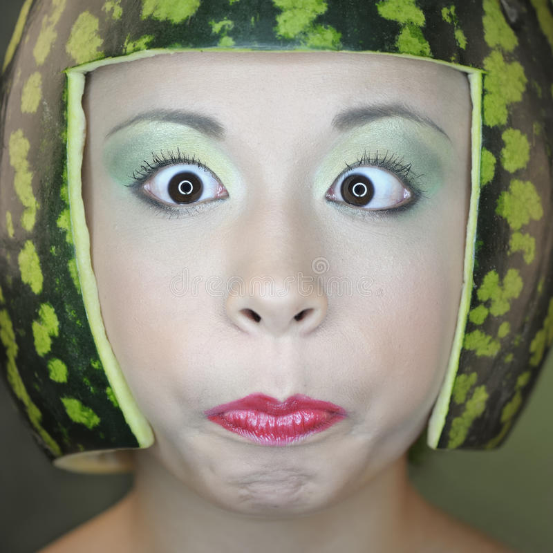 Woman with water-melon stock photos