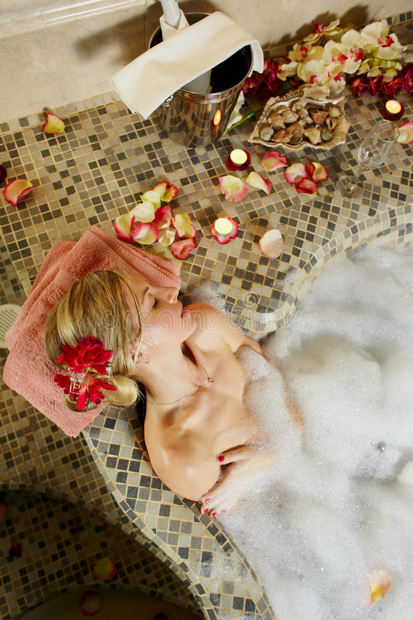 Woman in water spa