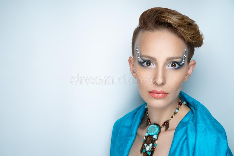 Woman water studio blue make up royalty free stock photo