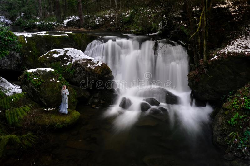 Woman by waterfall in winter rain forest. Dramatic landscape with a rainforest under snow and a river with waterfalls. Whatcom Falls Park. Whatcom Creek near stock image